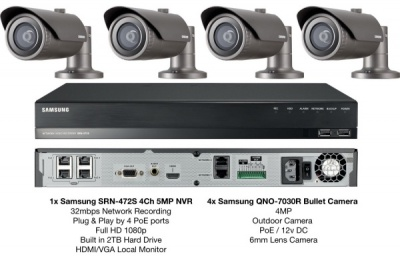 Samsung 4MP Network HD 1080p 4 Bullet Camera's & 1x 4CH PoE NVR 2TB CCTV Package