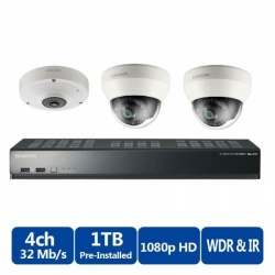 Samsung 4 Channel PoE NVR 1TB With 3 CCTV Cameras 3yr Warranty FREE CCTV SIGN