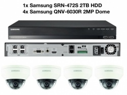 Samsung 4x 2MP Vandal-Res Network Dome HD 1080p W/ SRN-472S 2TB NVR PoE CCTV Kit