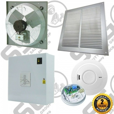AOV Automatic Vent Smoke Extractor Ventilation Fan High Temp w/Control Panel Kit