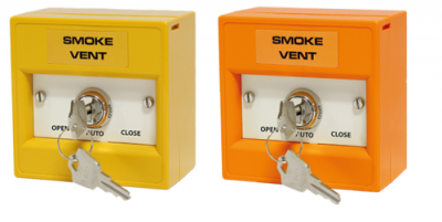 Smoke Vent Firemans Key Switch Orange Yellow AOV Manual Override Resettable