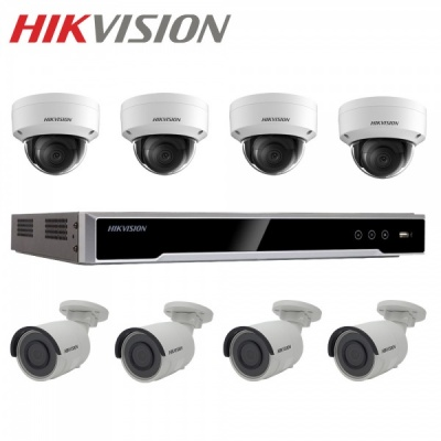 Hikvision 4x Dome 4x Bullet 4MP 8CH NVR Recorder 1TB Outdoor External Camera Kit