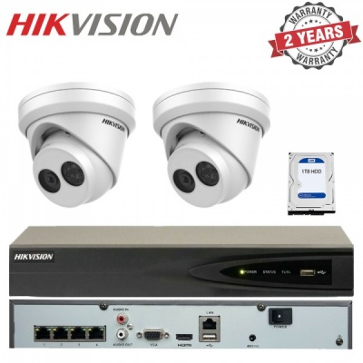Hikvision 4 Channel NVR Recorder 1TB & 2x 4MP Turret Outdoor Network CCTV Camera