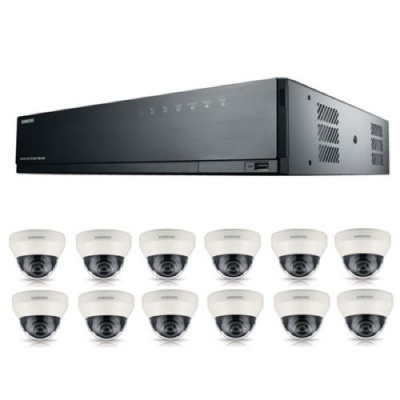Samsung SRK-5120S 16Ch IP 8MP PoE NVR 3TB HD & 12x 1080p Dome CCTV Cameras 3.6mm