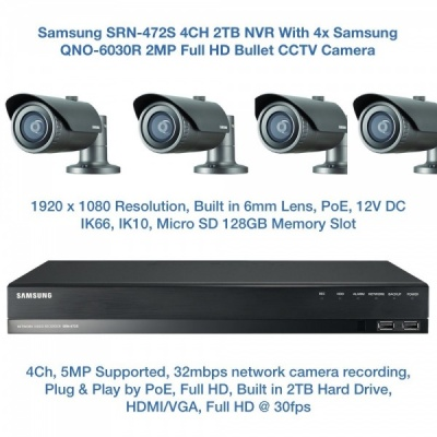 Samsung 2MP Network PoE HD 1080p 4 Bullet Camera's QNO-6030R & 4CH PoE NVR SRN-472S CCTV Package