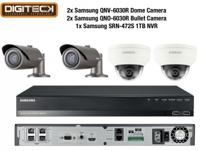 Samsung 2MP CCTV Security Package 4 Camera Full HD 1080p IP PoE + 1TB NVR Kit