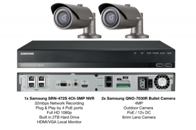 Samsung 4MP Network HD 1080p 2 Bullet Camera's & 4CH PoE NVR 2TB CCTV Package