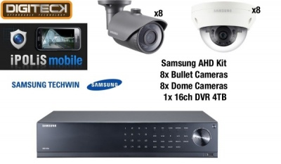 Samsung 16 Camera Dome & Bullet CCTV Kit & 16 Channel DVR AHD 1080p Plug&Play