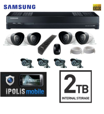SAMSUNG TECHWIN SDH-P4021/UK 1080p HDTV 2TB Hybrid CCTV Kit 8 Cameras Security