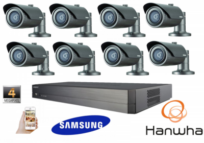 Samsung Hanwa 4MP CCTV Kit 1080P 8 Channel Network IP NVR PoE Bullet Security