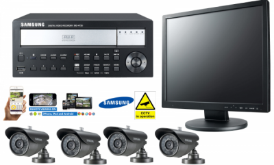 Samsung 4 Channel CCTV Kit with DVD Backup, Bullet Cameras CCTV Monitor Security