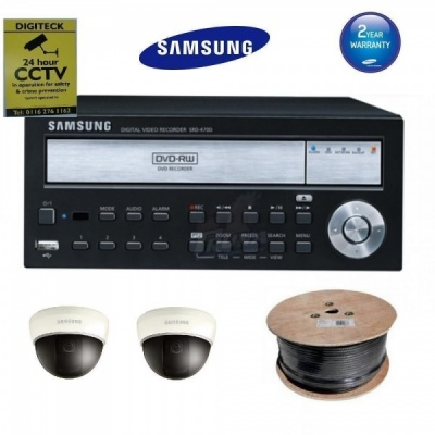 Samsung CCTV Package 1x DVR 2x Camera Home Security Kit Surveillance Cables PSU SCD-5082 SRD-470D