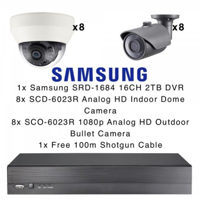 Samsung 16 CCTV Camera Kit 8x Internal Dome 8x Outdoor Bullet 1x DVR 16CH 2TB