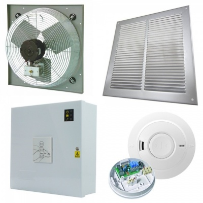 AOV Vent Smoke Extractor Ventilation Fan High Temp w/ Control Panel Kit
