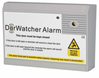 DorWatcher 12VDC Mains Battery Powered Door Held Open Fire Alarm Set Time Delay Screecher Sounder