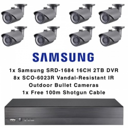 Samsung 8 Outdoor Bullet Camera Kit 16CH DVR 2TB Vandal Resistant Analog 1080p