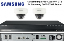 Samsung 4MP Vandal Res Network Dome Camera (x2) & 4CH NVR PoE 2TB CCTV Package