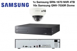 Samsung 4MP Vandal Res Network Dome Camera (x16) & 16CH NVR PoE 4TB CCTV Package