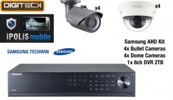 Samsung 8 Camera Dome & Bullet CCTV Kit & 8 Channel DVR 2TB AHD 1080p Plug&Play