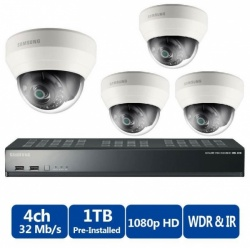 Samsung 4 Channel PoE NVR 1TB With 4 CCTV Cameras 3yr Warranty FREE CCTV SIGN