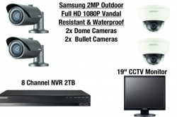 Samsung 4 Camera Outdoor Vandal-Resistant & Waterproof Dome & Bullet HD CCTV Kit