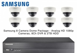 Samsung 8 Dome CCTV Cameras IR AHD 1080p 4mm Lens & 8CH Real-time DVR 2TB HDD