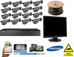 Samsung 16 Channel Complete CCTV Kit 16x Cameras 2TB Bullet Security Screen