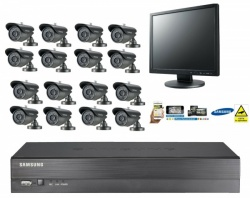 Samsung 16 Channel CCTV Security Kit Bullet Camera Monitor Remote Viewing