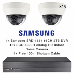Samsung 16 Camera Dome Kit Analog HD 1080p Indoor & 2TB 16CH DVR Recorder CCTV