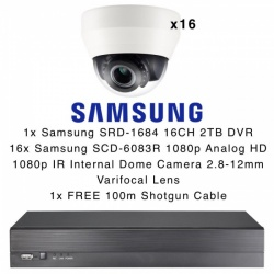Samsung 16x SCD-6083R Internal Varifocal HD Dome CCTV Cameras & SRD-1684 2TB DVR