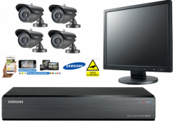 Samsung 4 Channel 500GB CCTV Kit Bullet Cameras Security Monitor High Resolution